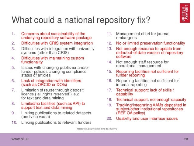 www.bl.uk 28 What could a national repository fix? 1. Concerns about sustainability of the underlying repository software ...