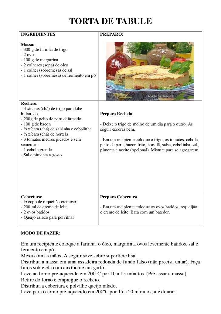TORTA DE TABULEINGREDIENTES                               PREPARO:Massa:- 300 g de farinha de trigo- 2 ovos- 100 g de marg...