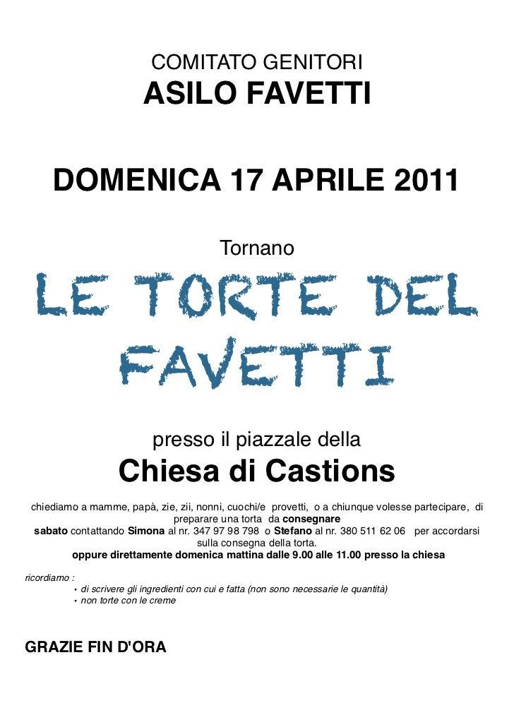 COMITATO GENITORI                             ASILO FAVETTI       DOMENICA 17 APRILE 2011                                 ...