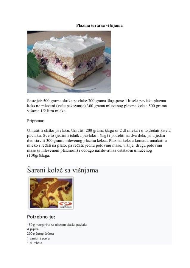 Plazma torta sa višnjama Sastojci: 500 grama slatke pavlake 300 grama šlag-pene 1 kisela pavlaka plazma keks ne mleveni (v...