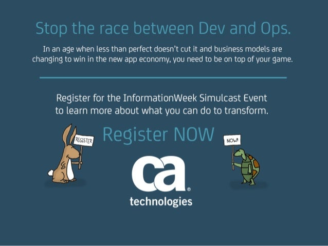 Stop the race between Dev and Ops. In an age when less than perfect doesn't cut it and business models are changing to win...