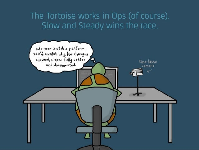 """The Tortoise works in Ops (of course). Slow and Steady wins the race. """"We need a stable platform, 100% availability. No ch..."""