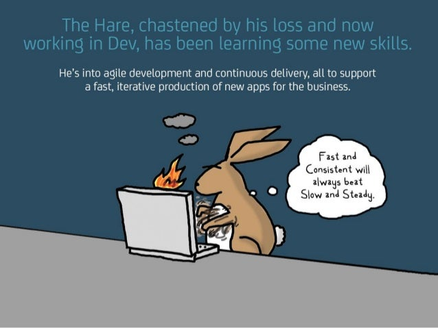 The Hare, chastened by his loss and now working in Dev, has been learning some new skills. He's into agile development and...