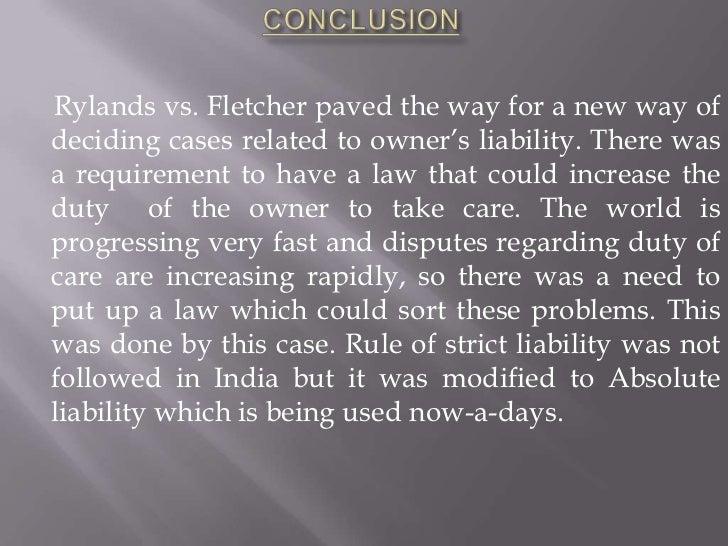 Rylands v fletcher case analysis