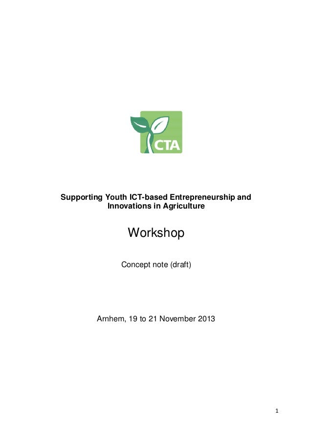 Supporting Youth ICT outh ICT-based Entrepreneurship and ntrepreneurship Innovations in Agriculture nnovations  Workshop C...