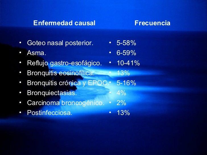 <ul><li>Enfermedad causal  </li></ul><ul><li>Goteo nasal posterior. </li></ul><ul><li>Asma.  </li></ul><ul><li>Reflujo gas...