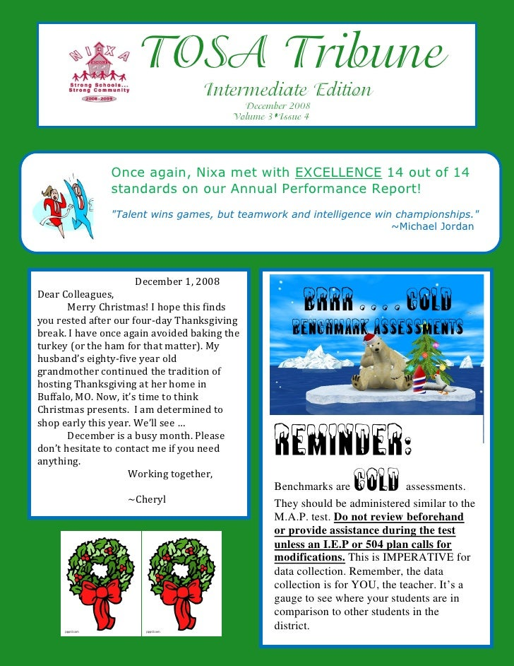 TOSA Tribune                                    Intermediate Edition                                            December 2...