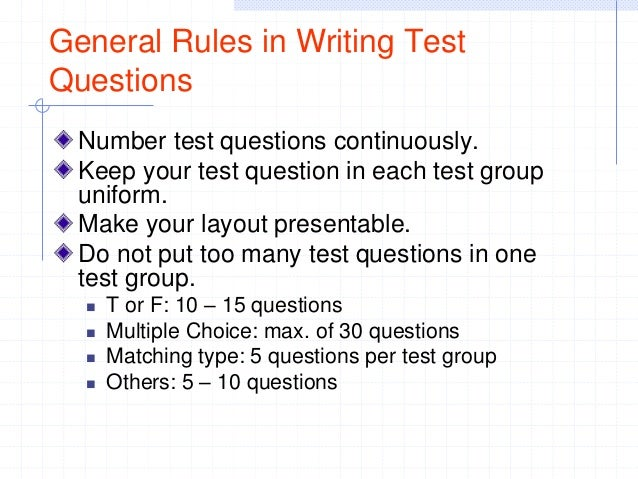 Table of Specifications (TOS) and Test Construction Review