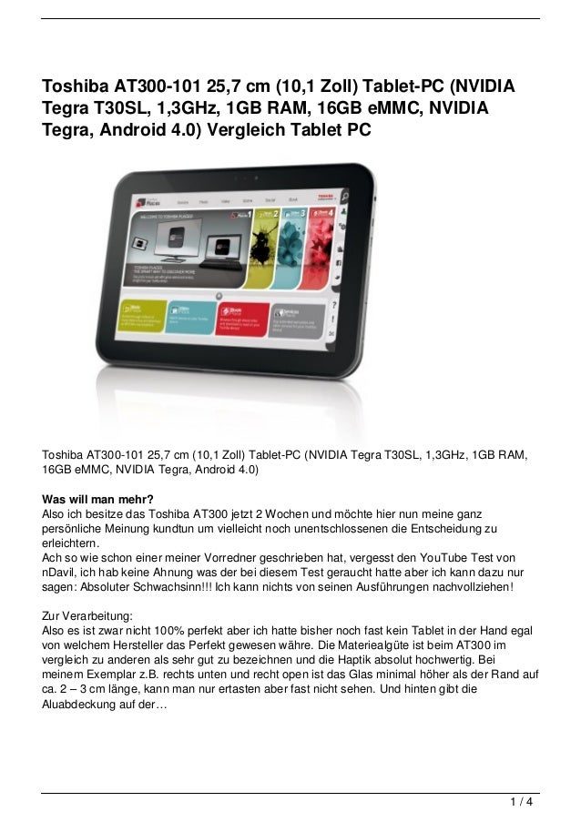 Toshiba AT300-101 25,7 cm (10,1 Zoll) Tablet-PC (NVIDIATegra T30SL, 1,3GHz, 1GB RAM, 16GB eMMC, NVIDIATegra, Android 4.0) ...