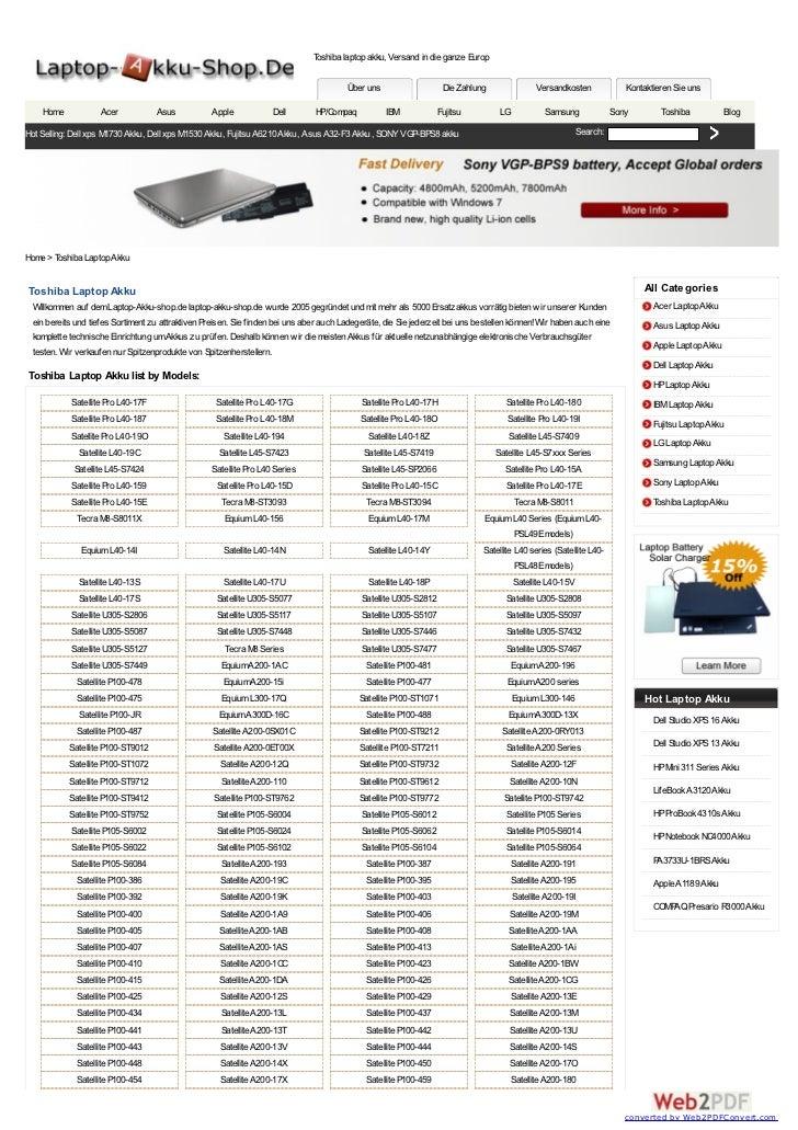 Toshiba laptop akku, Versand in die ganze Europ                                                                           ...