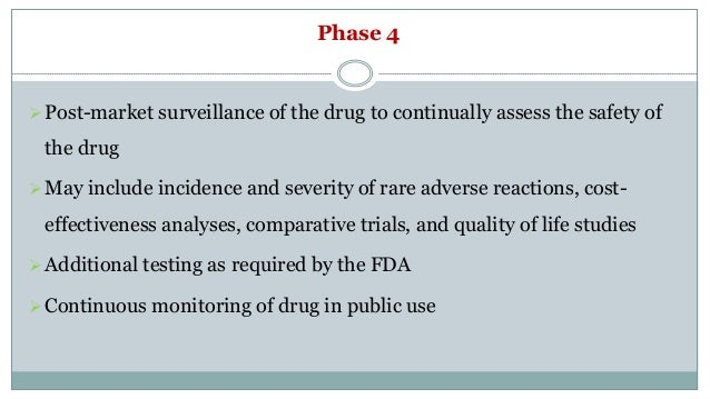 Phase 4 Post-market surveillance of the drug to continually assess the safety of the drug May include incidence and seve...