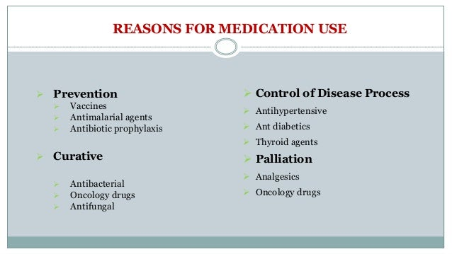 REASONS FOR MEDICATION USE  Prevention  Vaccines  Antimalarial agents  Antibiotic prophylaxis  Curative  Antibacteri...