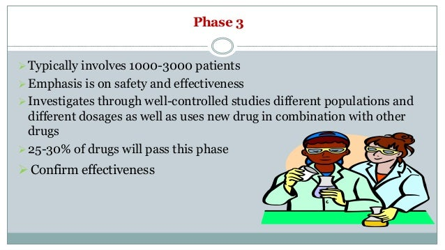 Phase 3 Typically involves 1000-3000 patients Emphasis is on safety and effectiveness Investigates through well-control...