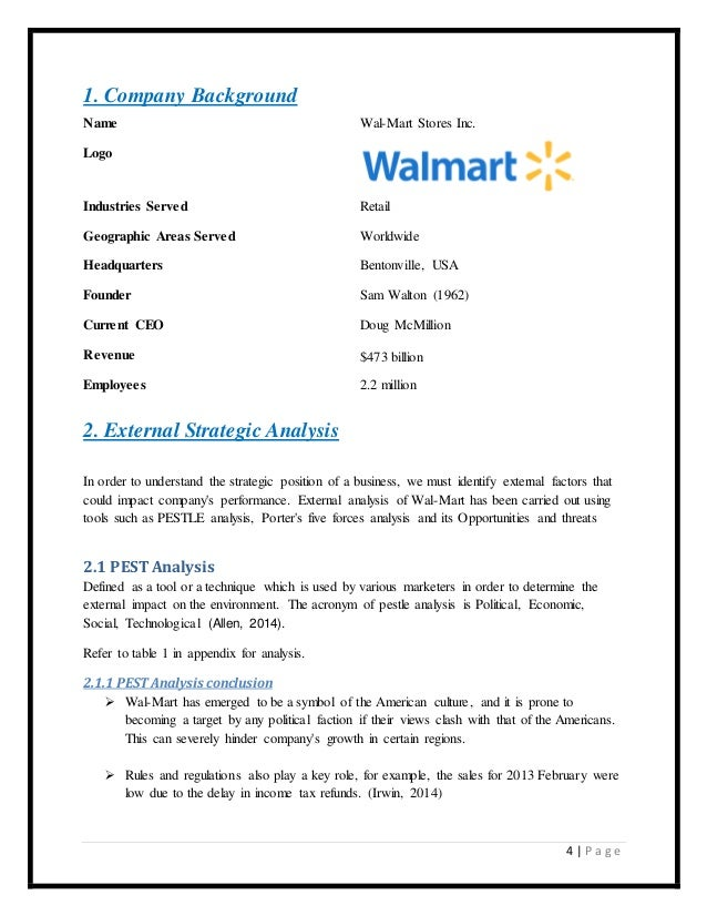 wal-mart case study strategic management