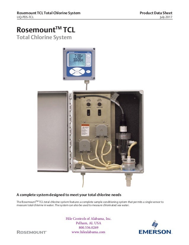 Rosemount TCL Total Chlorine System LIQ-PDS-TCL Product Data Sheet July 2017 RosemountTM TCL Total Chlorine System A compl...