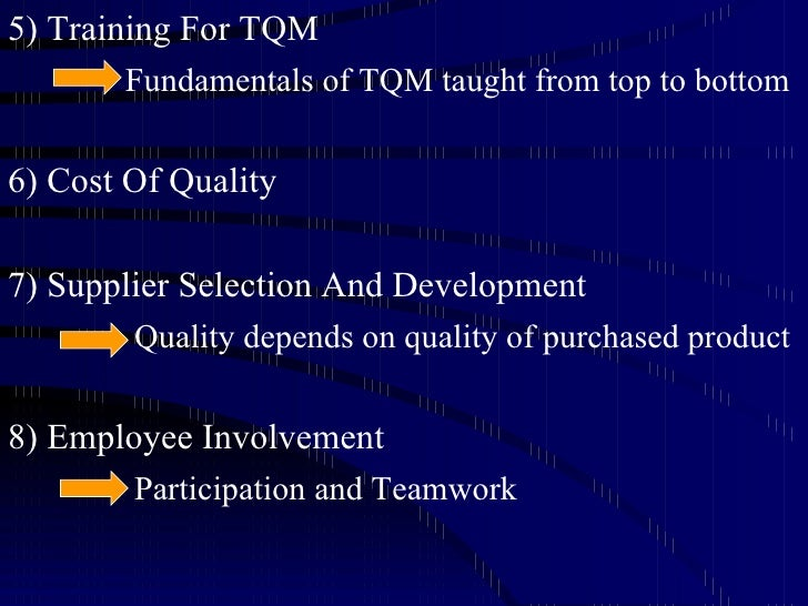 the road to tqm Total quality management (tqm) implementation has been an important aspect  for improving organisational efficiency organisations work for tqm.