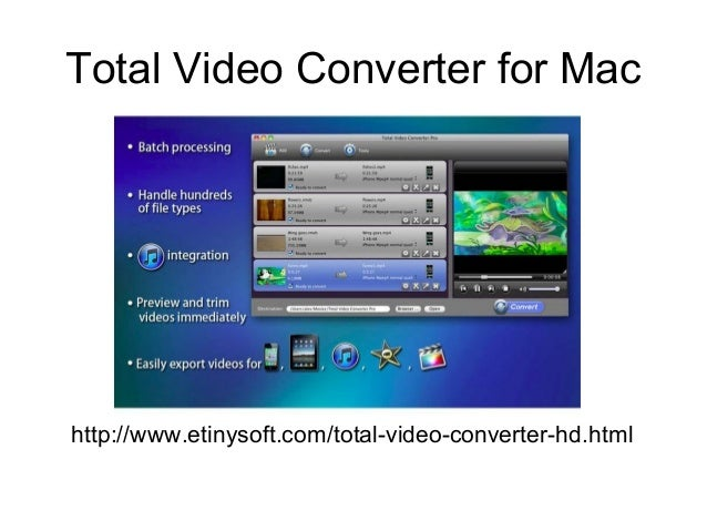 Total Video Converter for Mac http://www.etinysoft.com/total-video-converter-hd.html