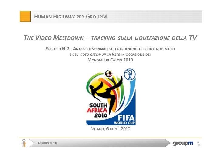 HUMAN HIGHWAY PER GROUPM   THE VIDEO MELTDOWN – TRACKING                  SULLA LIQUEFAZIONE DELLA             TV         ...