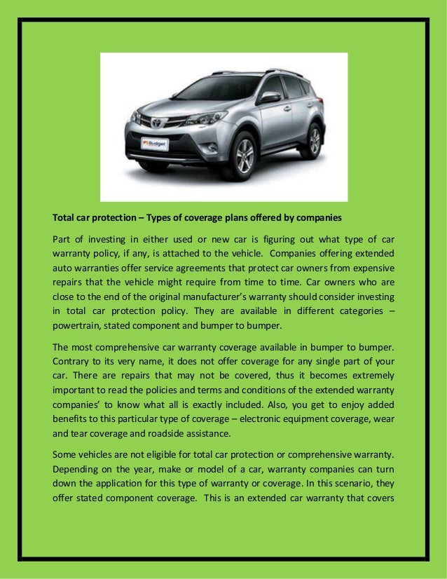 Car Warranty Companies >> Total Car Protection Types Of Coverage Plans Offered By Companies