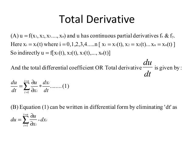 Engineering Mathematics Total Derivatives Chain Rule And Derivativ