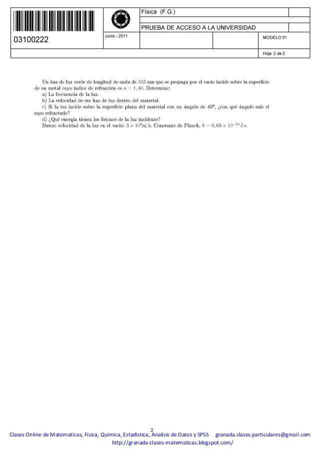 Enunciados Examenes Fisica Selectividad PAU UNED 2011-2013
