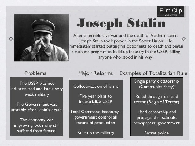 totalitarian leaders Another famed example of a totalitarian regime is the leadership of the soviet union under josef stalin stalin came to power following the death of vladimir lenin.