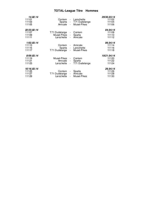 TOTAL-League Titre Hommes 14.02.14 11101 11103 11105  Contern Sparta Amicale  -  Larochette T71 Dudelange Musel-Pikes  29/...