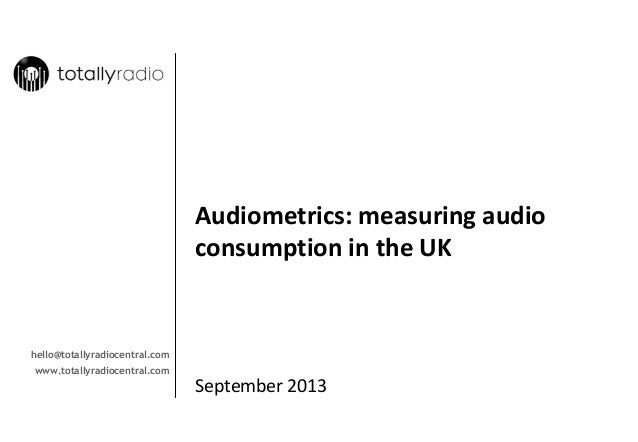 Audiometrics: measuring audio  consumption in the UK  hello@totallyradiocentral.com www.totallyradiocentral.com  September...
