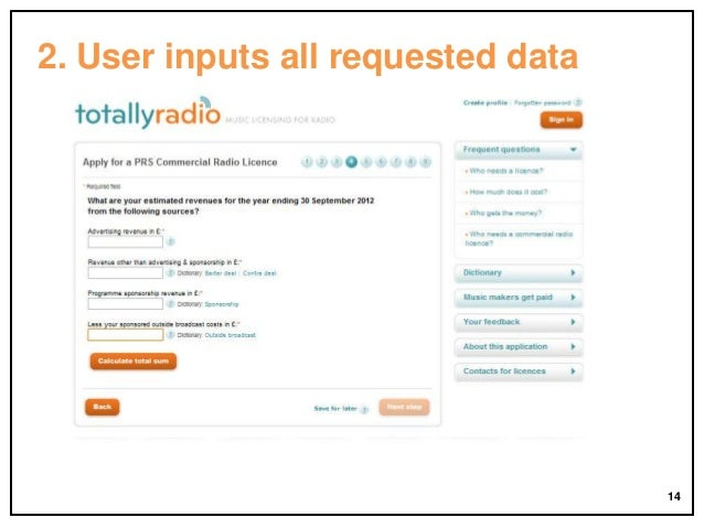 2. User inputs all requested data  14