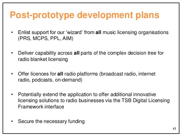 Post-prototype development plans • Enlist support for our 'wizard' from all music licensing organisations (PRS, MCPS, PPL,...