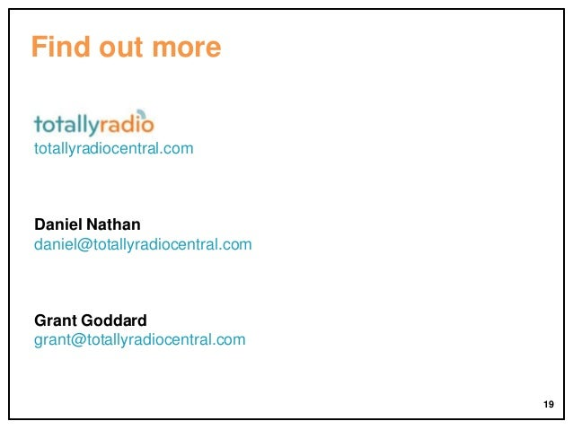 Find out more  totallyradiocentral.com  Daniel Nathan daniel@totallyradiocentral.com  Grant Goddard grant@totallyradiocent...