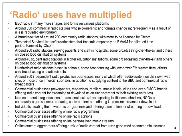 'Radio' uses have multiplied • • • • • • • • • • • • • • •  BBC radio in many more shapes and forms on various platforms A...