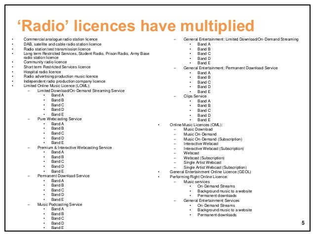 'Radio' licences have multiplied • • • • • • • • • •  Commercial analogue radio station licence DAB, satellite and cable r...