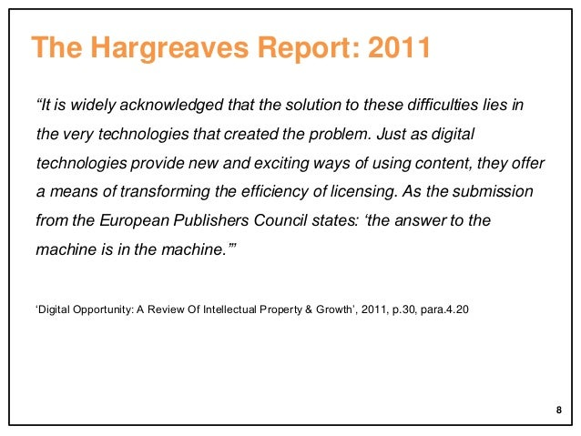"""The Hargreaves Report: 2011 """"It is widely acknowledged that the solution to these difficulties lies in the very technologi..."""