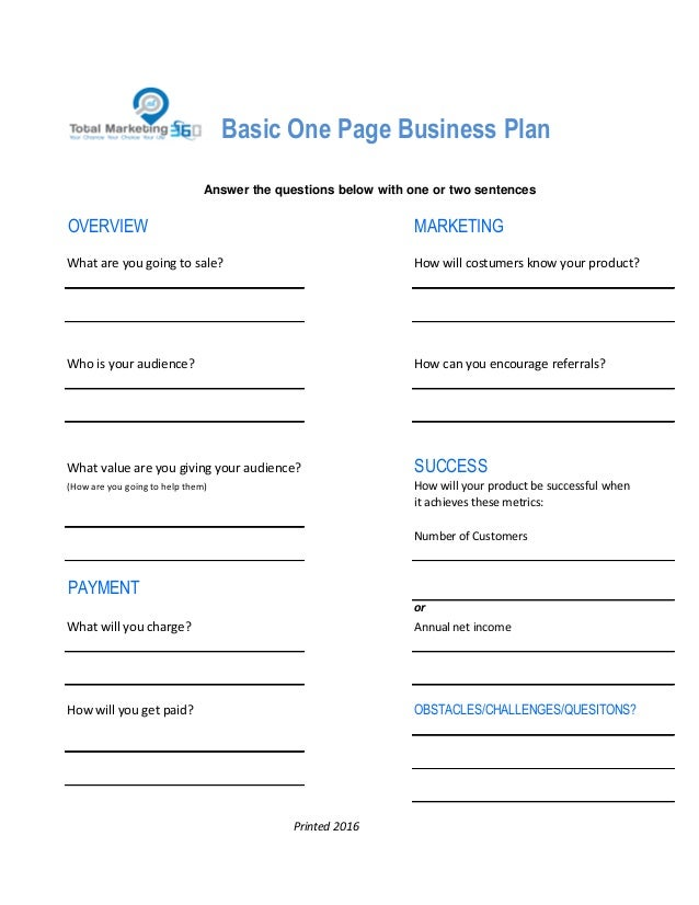 Total Marketing  One Page Business Plan