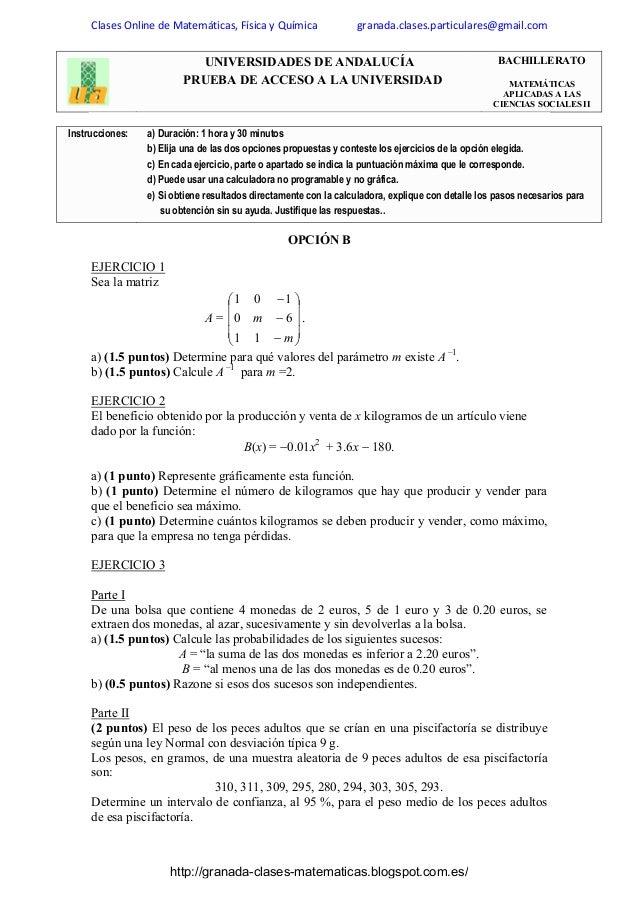 Enunciados Examenes Selectividad Matematicas Aplicadas Ciencias Socia