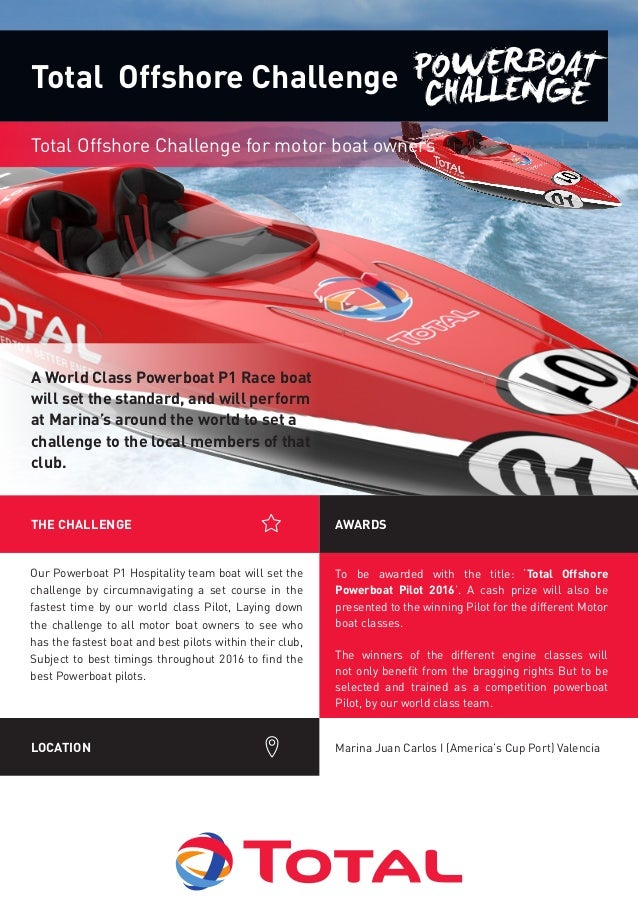 To be awarded with the title: 'Total Offshore Powerboat Pilot 2016'. A cash prize will also be presented to the winning Pi...