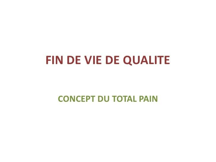 FIN DE VIE DE QUALITE  CONCEPT DU TOTAL PAIN
