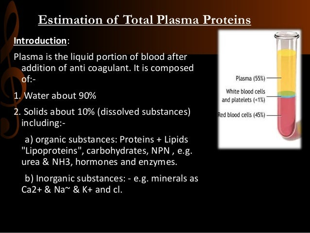 Estimation of Total Plasma Proteins Introduction: Plasma is the liquid portion of blood after addition of anti coagulant. ...