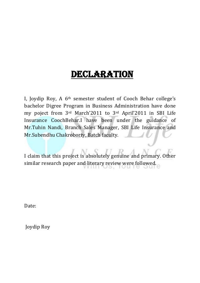 DECLARATION I, Joydip Roy, A 6th semester student of Cooch Behar college's bachelor Digree Program in Business Administrat...