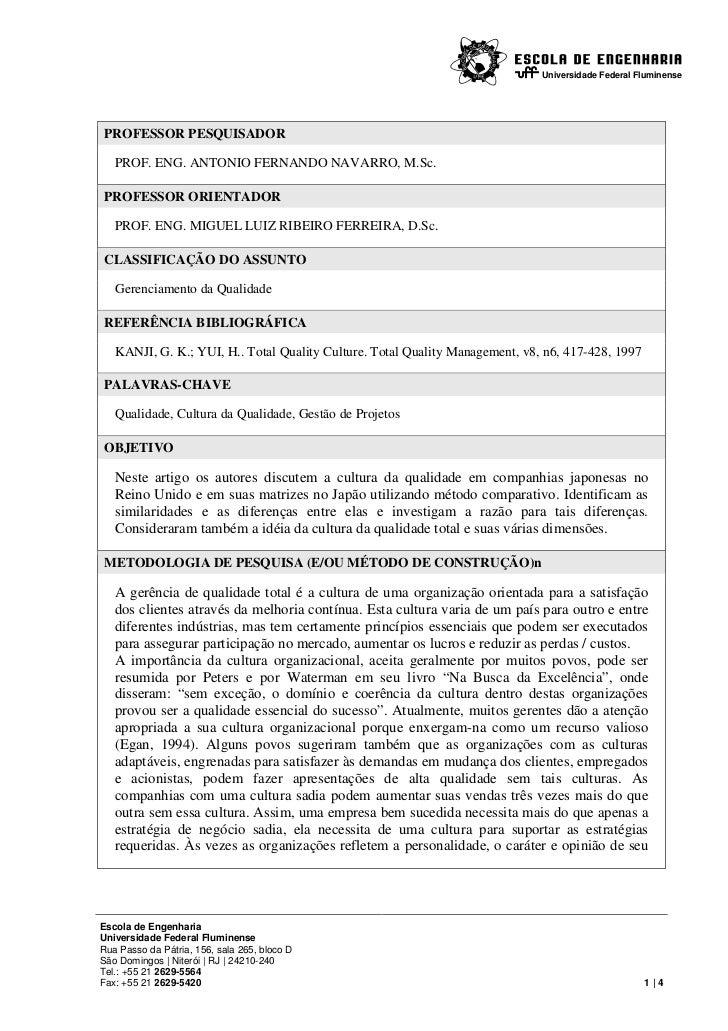 Universidade Federal FluminensePROFESSOR PESQUISADOR   PROF. ENG. ANTONIO FERNANDO NAVARRO, M.Sc.PROFESSOR ORIENTADOR   PR...
