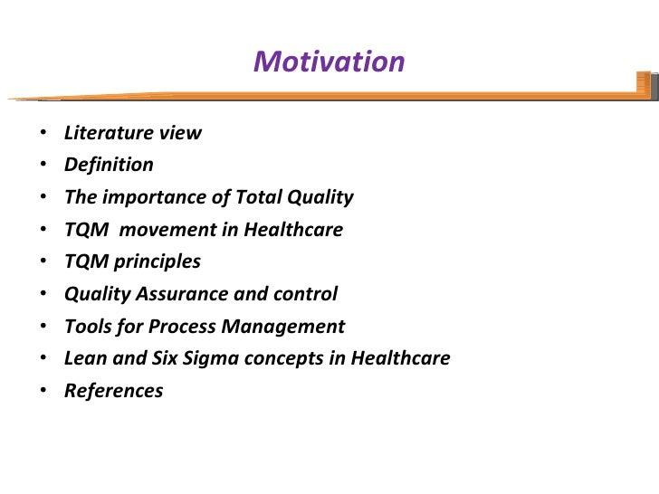 Motivation <ul><li>Literature view </li></ul><ul><li>Definition </li></ul><ul><li>The importance of Total Quality </li></u...