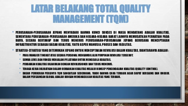 motorola case study total quality management The company has won the malcolm baldrige national quality award twice in 1988 and 2002 six sigma at motorola : case studies in operations management.