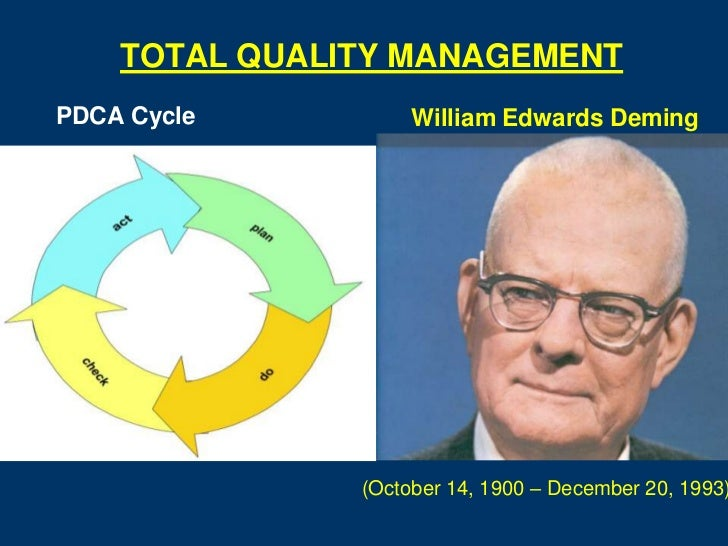 TOTAL QUALITY MANAGEMENTPDCA Cycle          William Edwards Deming               (October 14, 1900 – December 20, 1993)