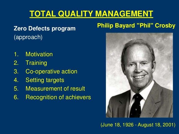 "TOTAL QUALITY MANAGEMENT                                Philip Bayard ""Phil"" CrosbyZero Defects program(approach)1.   Moti..."