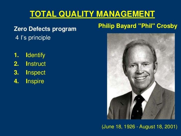 "TOTAL QUALITY MANAGEMENT                       Philip Bayard ""Phil"" CrosbyZero Defects program4 I's principle1.   Identify..."