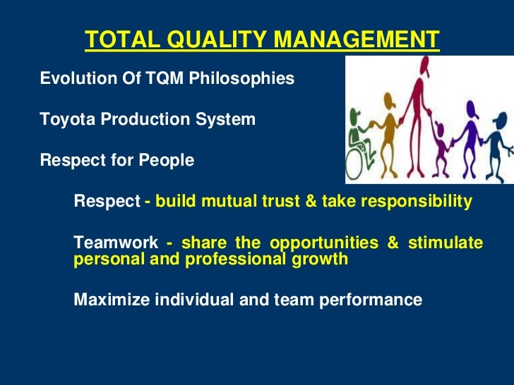 TOTAL QUALITY MANAGEMENTEvolution Of TQM PhilosophiesToyota Production SystemRespect for People   Respect - build mutual t...
