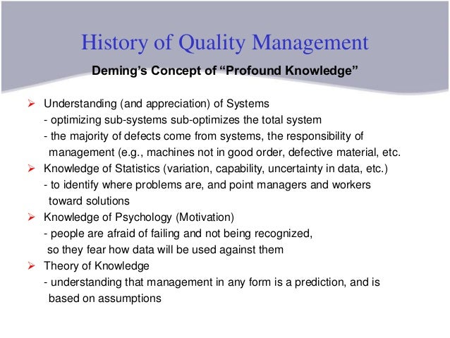demings system of profound knowledge essay Summary chapter three: the management and control of quality  profound knowledge 1 appreciation of system:  summary chapter three: the management.