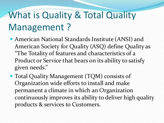 features of services in tqm