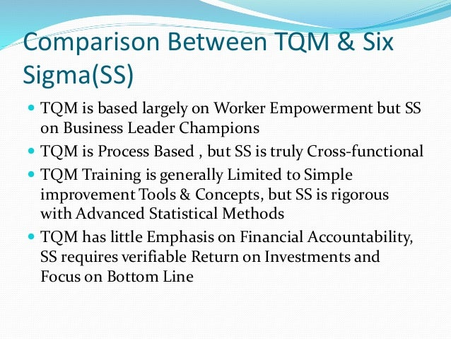 difference between six sigma and total quality management pdf